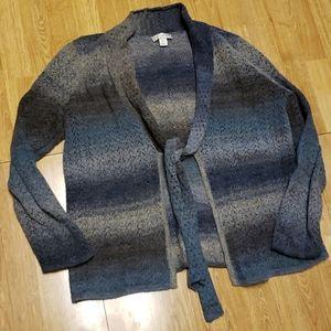 Smoky blue & gray tie front cardigan sweater XL